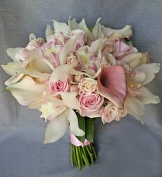 Dahlia Floral Design pale blush pink roses cymbidium orchids and calla lily bridal wedding bouquet