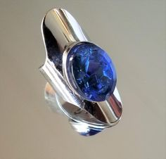 VTG SARAH COVENTRY BLUE CLEOPATRA sapphire CRYSTAL LRG SILVER RHODIUM RING 5 6 7 #SarahCoventry #CuffAdjustableRing