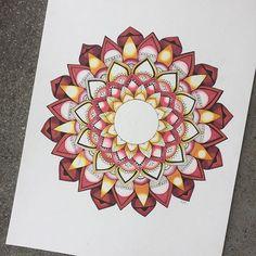 AMAZING warm toned mandala art created by @kaelamoldenhauer with their Chameleon Pens.  #chameleonpens #mandala #drawing #sketch