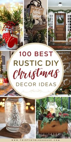 Add a touch of rustic cozy to the inside and outside of your home with these stunning DIY rustic Christmas decor ideas. Easy Christmas Decorations, Holiday Centerpieces, Holiday Decorating, Flower Centerpieces, Wedding Centerpieces, Wedding Decorations, Christmas Displays, Rustic Centerpieces, Porch Decorating
