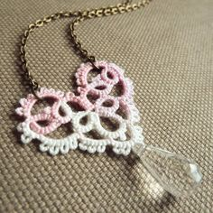 Pink lace heart necklace - Valentine's Day