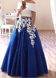 A-Line prom dress Charming Two Pieces Prom Dress,Off The Shoulder Evening Dress,Appliques Party Dress,Floor Length Party Dress