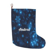 Deep Blue & Bright Snowflakes Christmas Stocking - christmas stockings merry xmas cyo family gifts presents