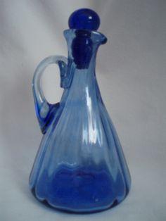 Antique Cobalt Blue Hand Blown Cruet w/stopper FREE SHIP  $37.00 OBO
