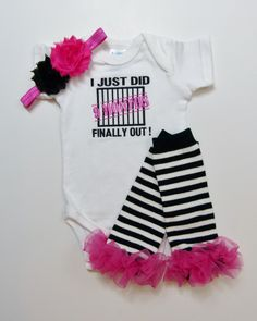 Baby Girl Outfit Leg Warmers I Just Did Nine Months by mamabijou, $19.00