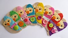 THREE felt owls HANDMADE  embellishment / by paperandstring, £6.00