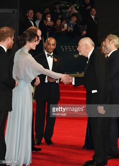 Prince Harry, Catherine, Duchess of Cambridge. Prince William, Duke of Cambridge, guest, Michael G. Wilson, Barbara Broccoli and Sam Mendes attend the Royal World Premiere of 'Spectre' at Royal...
