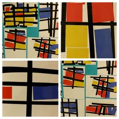 Mondrian! Students create their own Mondrian styled art after looking at the artist's works. Great emphasis for primary colors and vertical/horizontal lines.