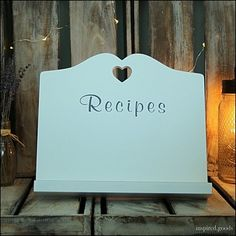 Shabby Chic White Heart Recipe Cook Book iPad Stand