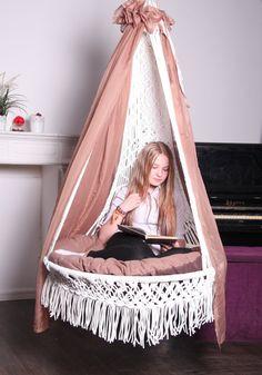 Items similar to Luxury chair macrame hammock. Macrame Hanging Chair, Macrame Chairs, Hanging Beds, Hanging Chairs, Girl Bedroom Designs, Girls Bedroom, Bedroom Decor, My Room, Girl Room