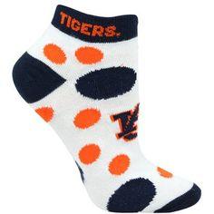 Auburn Tigers Womens Polka Dot Low-Cut Sock – White