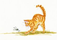 Chasing the Dragon.  A marmalade kitten is surprised during a nature trail. Debra Hall. GreyPepperArt