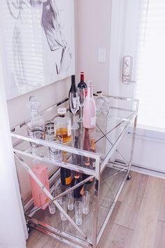 Blondie in the City Decor | Bar Cart Styling w/ @Livingspaces | Blake Lively Print @fineartamerica | Chic Bar Cart | Metallic Bar Cart