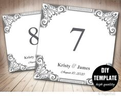 Wedding Table Numbers Template,Printable Table Card Template 5x5 Foldover,Elegant Table Cards,TableCard Template, Silver Table Nubmers Grey by paperfull on Etsy