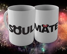 Soul Mate, 15 oz Coffee Mug Set. Disney, Mickey and Minnie