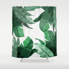 """Tropical Palm Print - Jungle Print, Bathroom Shower Curtain. Banana Leaf print, inspired by Hinson's """"Martinique"""" wallpaper, featured in Beverly Hills Hotel. Bahamas, Banana plant, leaves, wild, green, home decor, botanical, pattern, nature, lush, fresh, flora, floral, leaf,"""