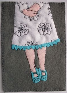 A hand stitched, hand-embroidered felt artwork, featuring an illustration by the awesome Askey of http://askey.etsy.com