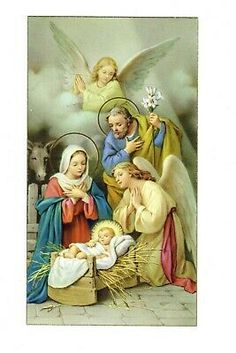 Vintage Catholic Bible Holy Card Birth of Christ Made in Italy Gold Guild