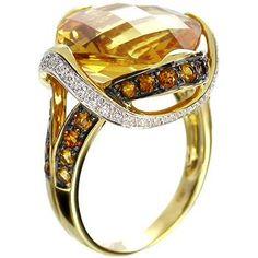 Anillo 18K oro amarillo con amarillo Citrino y Diamantes