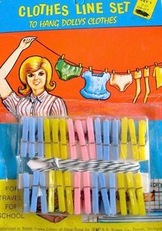 Vintage Dime Store Clothes Line Set for dolly - I loved dimestore toys like this. I really used these on my Barbie clothes. A clothes line from my bedroom window to the side yard fence!
