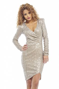AX Paris Women's Long Sleeve Wrap Front Sequin Covered Bodycon midi dress