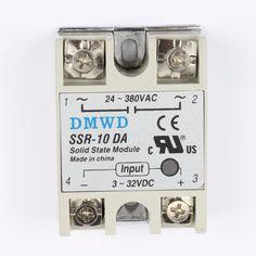 TOP BRAND DMWD solid state relay SSR-10DA 10A actually 3-32V DC TO 24-380V AC SSR 10DA relay solid state DA #Affiliate