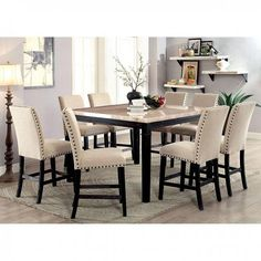 Counter Height Table Sets, Wood Veneer, Wood Wood, Black Counters, Square Tables, Chair Fabric, Nailhead Trim, Dining Chairs, Dining Bench