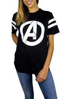 Marvel Womens Avengers Logo Varsity Football Tee Medium Black http://order.sale/JSFc (via Amazon)