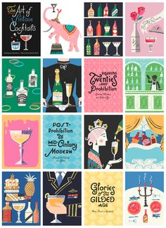 The Art of Vintage Cocktails by Danielle Kroll, via Behance