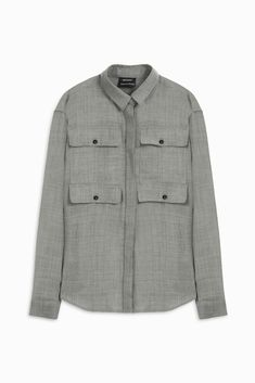 Anthony Vaccarello Solid Color Shirts & Blouses In Light Grey Anthony Vaccarello, Cuff Sleeves, Proenza Schouler, Shirt Blouses, Military Jacket, Grey, Coat, Skirts, Jackets