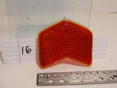 "Vintage Auto Chevron # 925 Red Glass Tail Light lens 4-1/4"" X  3"" with 1/8"" lip #Unbranded"