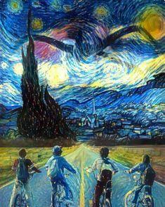 Van Gogh and Stranger things! Van Gogh and Stranger things! Stranger Things Funny, Stranger Things Netflix, Stranger Things Fan Art, Lucas Stranger Things, Stranger Things Upside Down, Art Drawings, Cool Art, Fanart, Artsy