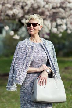 I feel absolutely fabulous wearing my new bouclé dress and jacket together as a suit. Tweed Suits, 40s Fashion, Suit Separates, Absolutely Fabulous, Tweed Jacket, Work Wear, J Crew, Bell Sleeve Top, Style Inspiration