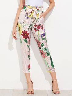 Shop Ruffle Waist Self Belt Mixed Print Pants online. SheIn offers Ruffle Waist Self Belt Mixed Print Pants & more to fit your fashionable needs.