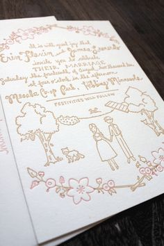 Cute hand drawn letterpress wedding invitation.  The whole set (RSVP cards, etc), is really cute and different.  http://poppytalkhandmade.com/2012/printerette-press/erin-letterpress-wedding-invitation-suite/