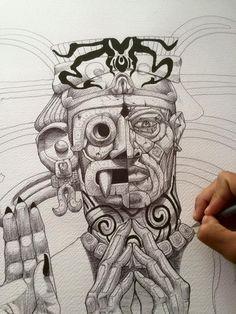 Chicano Art Tattoos, Chicano Drawings, Art Drawings, Maya, Aztec Tattoo Designs, Graffiti Pictures, Aztec Culture, Mexico Art, Aztec Art