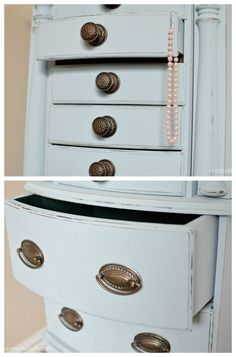 Jewelry Armoire Makeover with Valspar chalky finish paint