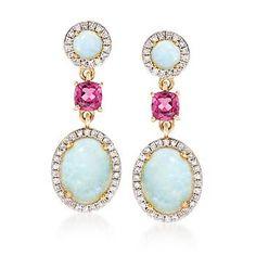 "Ross-Simons - Opal and .60 ct. t.w. Rhodolite Garnet Drop Earrings With Diamonds in 14kt Yellow Gold. 1"" - #882319"