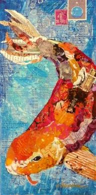 Torn Paper Collage | Koi, 12046 framed - Original Fine Art for Sale - © Nancy Standlee