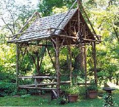 Rustic garden structures. I want to build one of these and put it in my garden this summer....