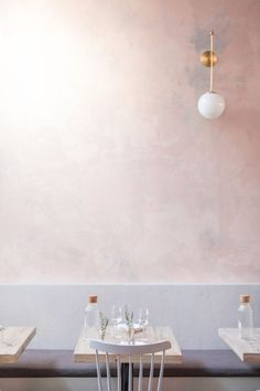 like the plaster rose wall and the light fixture for your bathroom --- Before & After: Botanica, LA's Must-Visit Restaurant of the Summer - Remodelista Luxury Homes Interior, Luxury Home Decor, Interior Design, Design Design, Interior Shop, Interior Architecture, Design Trends, Murs Roses, Rose Wall