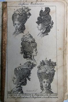I love old books and magazines, the look and feel of the paper, the images and recollections of a previous age. This book is a German alman. Marie Antoinette, Louis Xvi, Era Georgiana, 18th Century Wigs, 19th Century, Costume Français, Costumes, Historical Hairstyles, Rococo Fashion