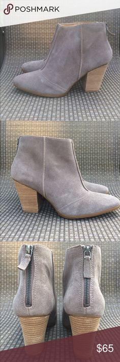Enzo Angiolini Bootie NWOT genuine leather upper bootie. never worn. Grayish-tan Suede. ASKING PRICE OR BEST OFFER  Enzo Angiolini Shoes Heeled Boots