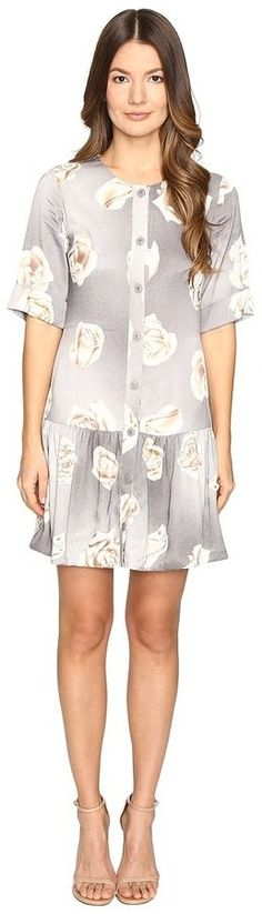 Moschino Silk Floral Button Up Dress