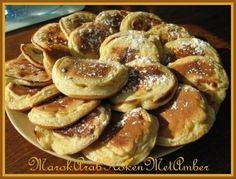 Ik houd van pannenkoeken, pancakes, Marokkaanse baghrirmaar ook deze kleine pannenkoekjes met een vulling van banaan zijn niet te versmaden....Dit heb je nodig250 gram bloem12