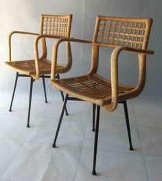 """ Gio Ponti Style"" Loggia Chairs 1950's ITALY--black painted metal/rattan wrapping 85x53x44x45 cm"