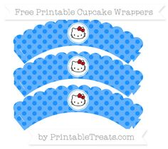 Free Dodger Blue Polka Dot  Hello Kitty Scalloped Cupcake Wrappers