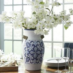 Blue & White Tile Design Vase | Pier 1 Imports