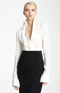 Donna Karan Collection Satin & Featherweight Crepe Blouse available at #Nordstrom
