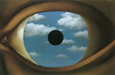 Rene Magritte - The False Mirror [1928] This artwork is about the iris portraying the sky as if the eye was looking at the sky and reflecting how the sky looks like. I like the way it creates the illusion to test our curiosity. I would want to do something that portrays the same effect like this artwork